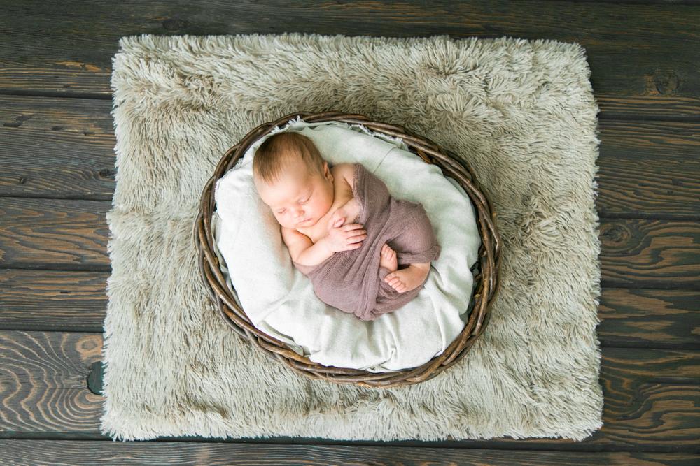 Best newborn photographer portland oregon sleeping baby basket