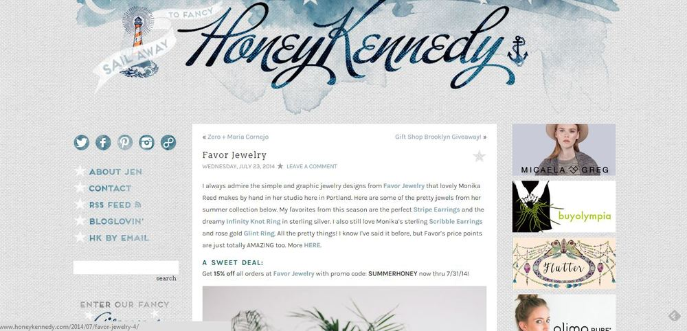 Honey Kennedy Favor Jewelry