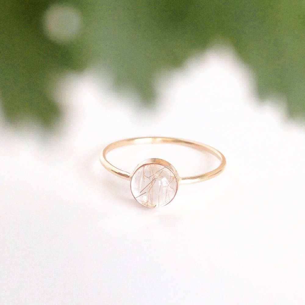 Rutilated Quartz Gumdrop Ring