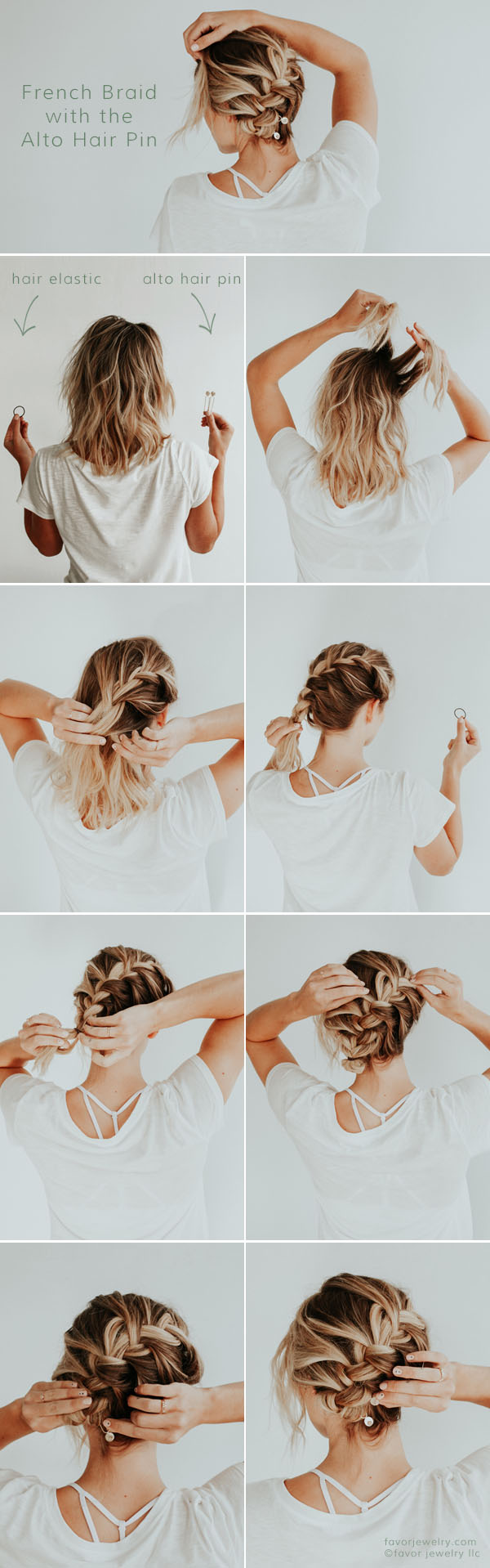 Date Night French Braid Hair Tutorial with Gemstone Hair Pins by Favor Jewelry