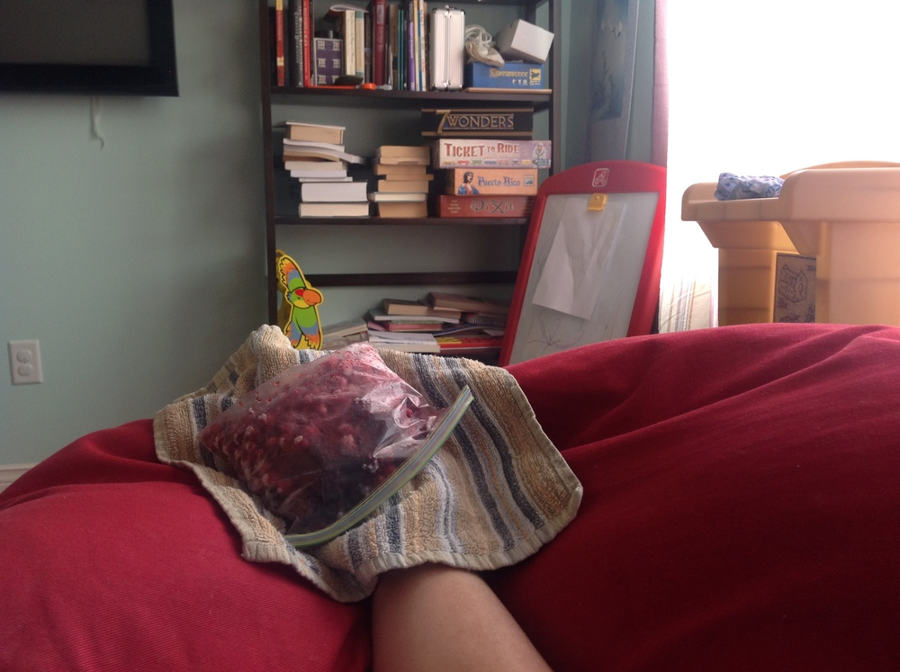 I write in the TV room with broken toes iced with berries. Granted, this is a little unusual. But it's happened. And it proves I will write anywhere, at anytime.