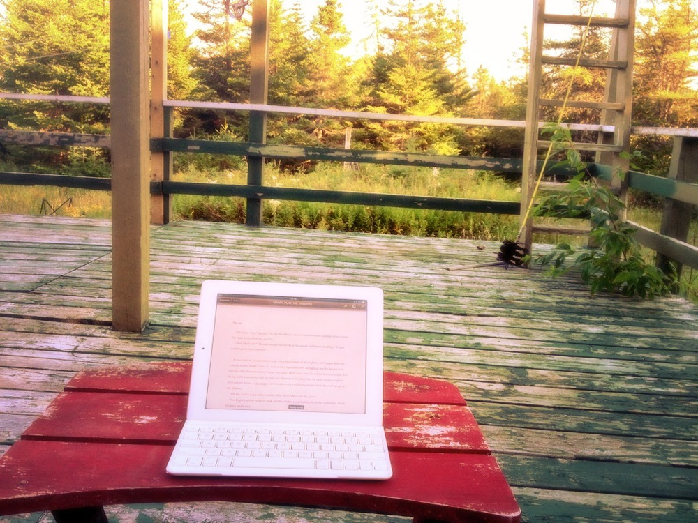 Ohhh. This is one of my favourite spots to write. I love writing in the woods. This is at my parents cabin. Interestingly, after I posted this photo on Facebook a year ago, they painted the deck. I sort of liked it like this.
