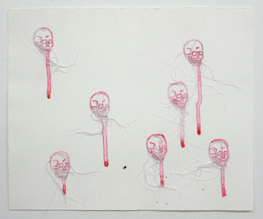 untitled (AIDS)   monoprint, blood, hand embroidery on paper
