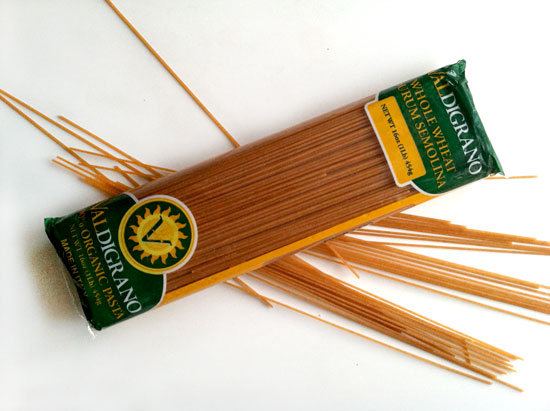 My favorite organic whole wheat pasta, seen here.