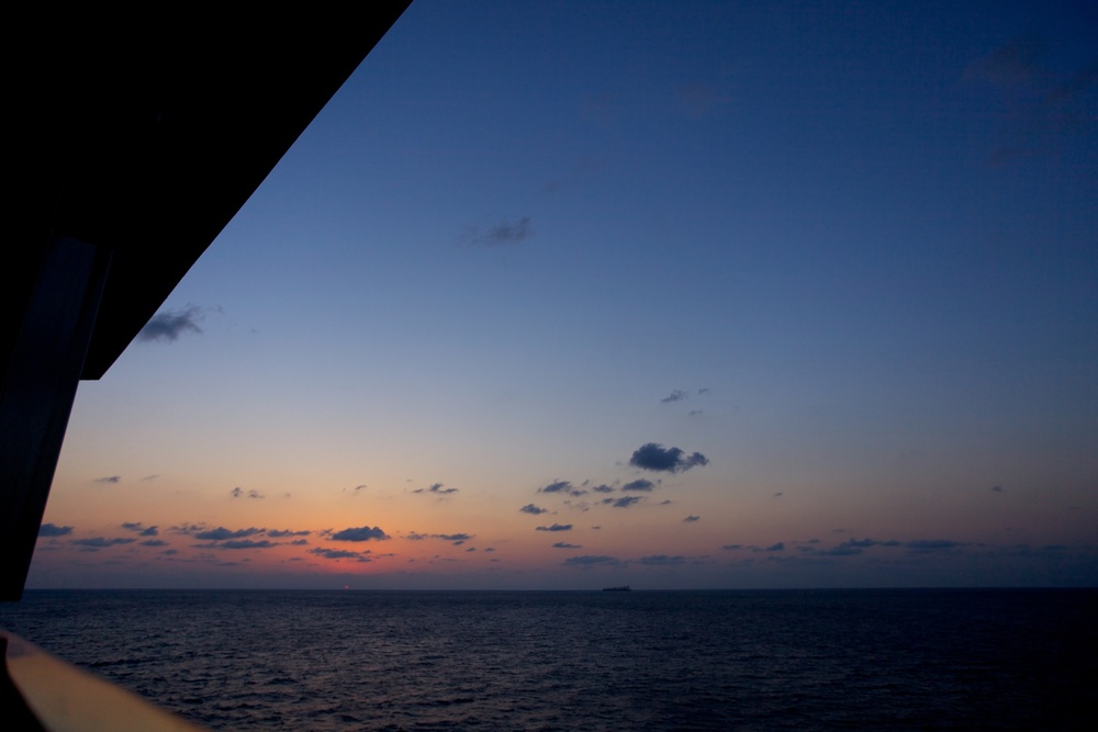 Sunset at sea aboard the Carnival Triumph