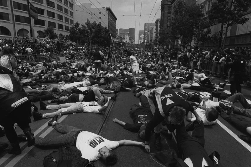 ACT UP, blockading the streets of Los Angeles in 1990, to protest bigotry against AIDS victims and the LGBT community.