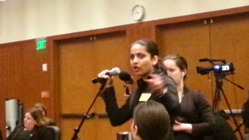 Priya telling the Regents that history will judge them harshly, if they do not act.