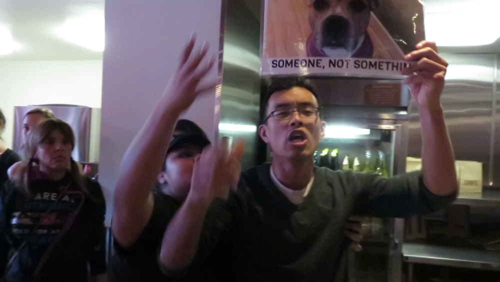Multiple Chipotle employees grabbed our protesters and attempted to pull them out of the restaurant.