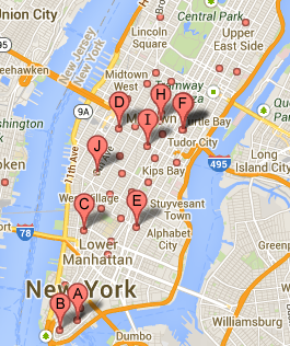 Chipotle's footprint in Manhattan. Some restaurants are literally down the street from one another.