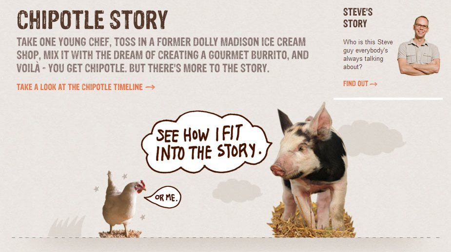 "In Chipotle's story, all the animals are safe and happy. ""We love piglets! How could we be a bad company?"""