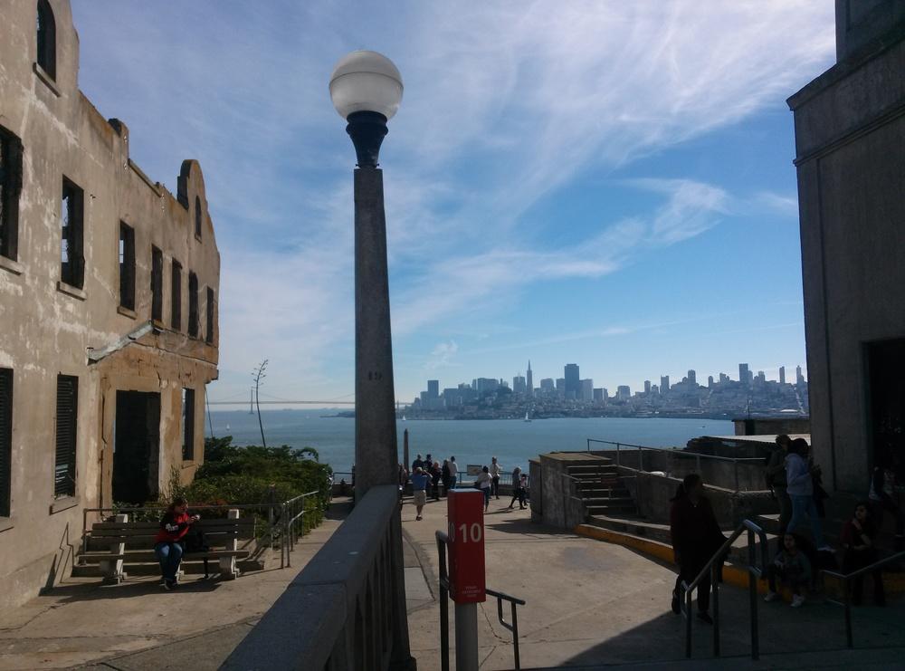 Tourists visiting Alcatraz.