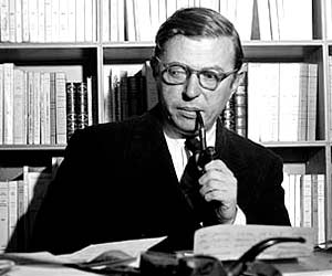 French philosopher, playwright, novelist, political activist, biographer, and literary critic Jean-Paul Sartre.