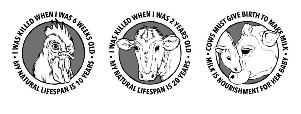 Stickers with slaughter facts.