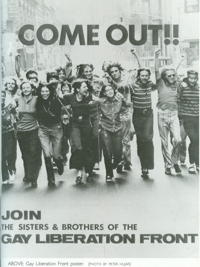 """A poster from the Gay Liberation Front urging people to """"Come out!!"""""""
