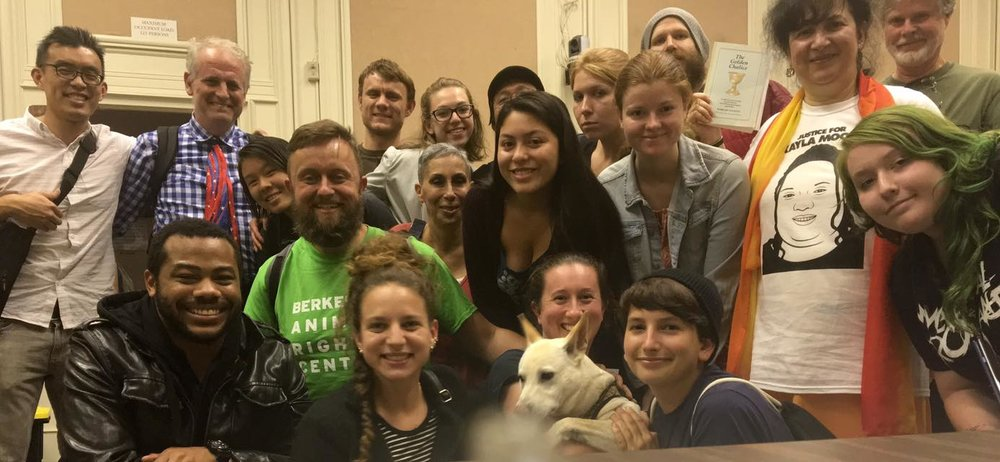 Only a dense network of local activists allowed us to fight through opposition and pass a resolution  condemning the dog meat trade.  The first of many animal resolutions in Berkeley!