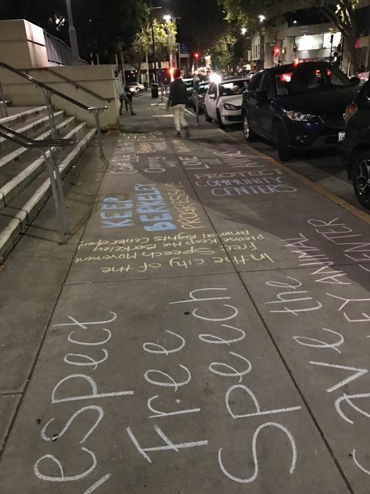 Chalk outside Berkeley City Hall Wednesday night.