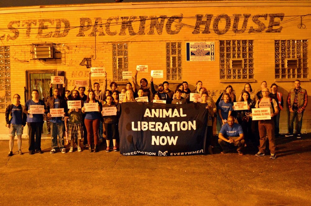 The Chicago chapter holding a vigil outside a slaughterhouse.