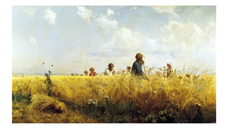 """Time of harvesting,"" painting by Grigoriy Myasoyedov, 1887."