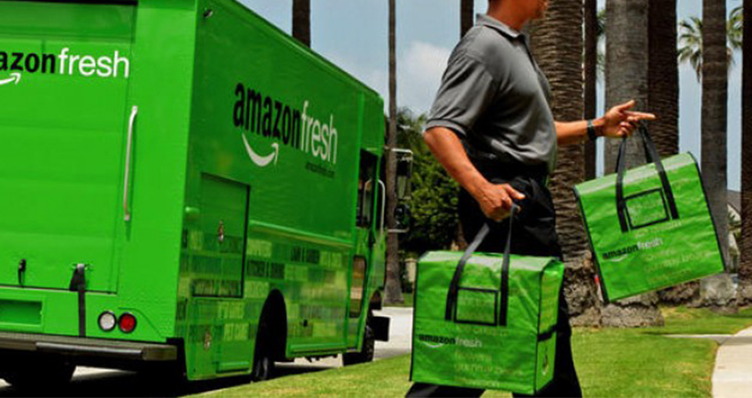 An Amazon Fresh truck delivering groceries