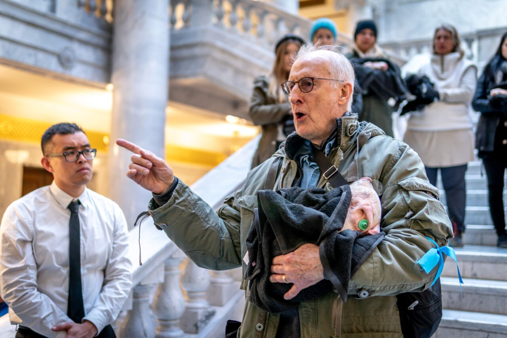 """Babe"" actor James Cromwell speaks to activists and government employees inside Utah State Capitol Building."