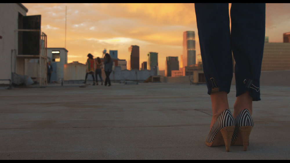 Still from Three Worlds. Downtown LA Rooftop