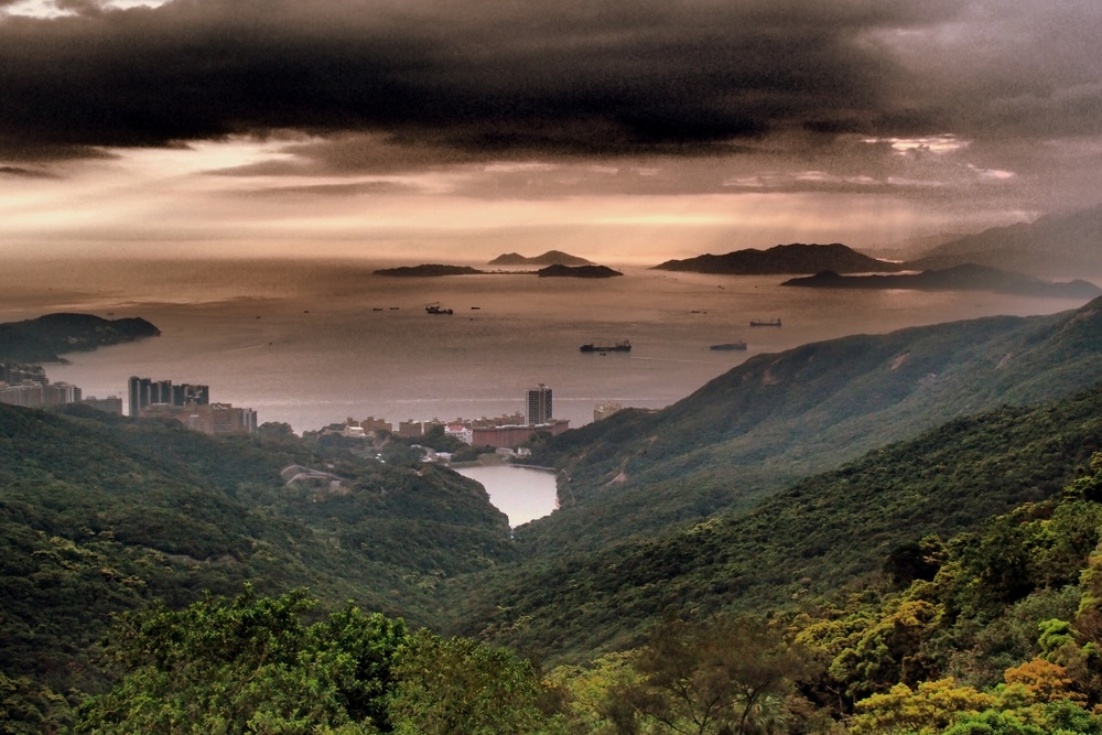 The south side of Hong Kong Island looking towards Pokfulam  + Cheung Chau and other outlying islands