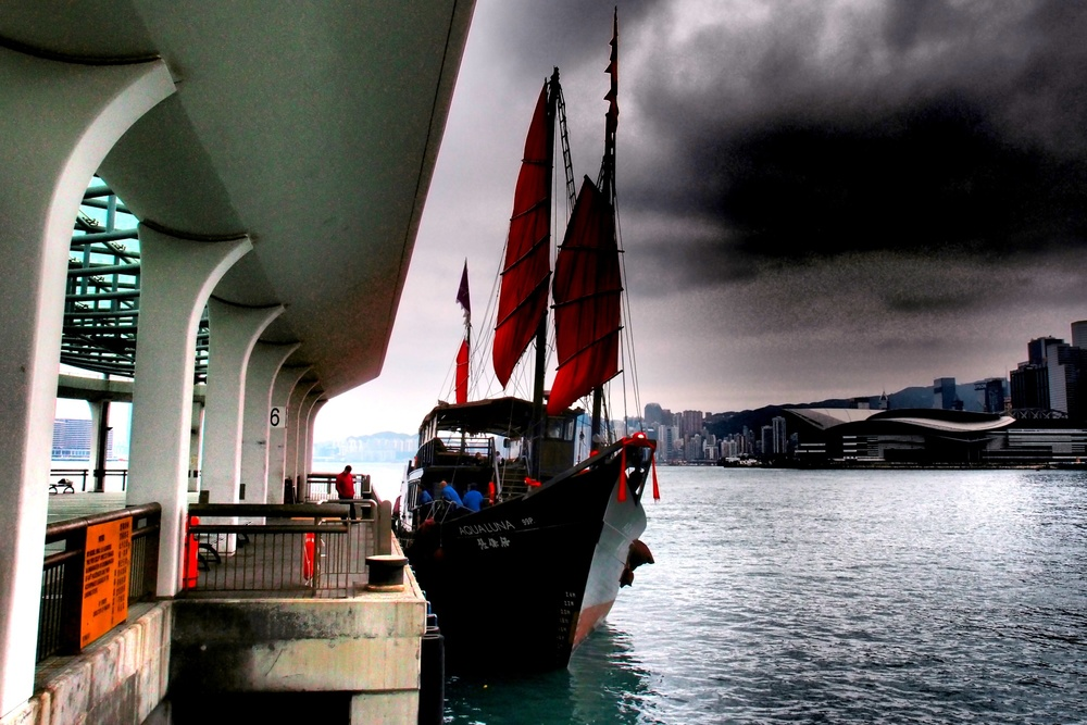 The Aqua Luna, noted for it's red sails,