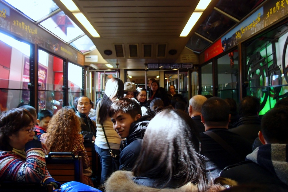 A typical scene on the Peak Tram