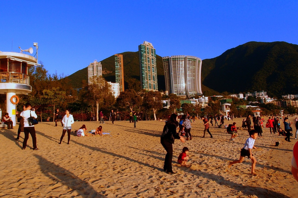A typical beach scene