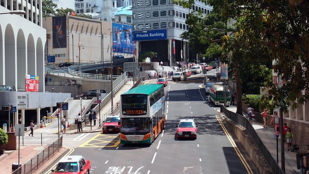 Garden Road close to the Peak Tram Terminal