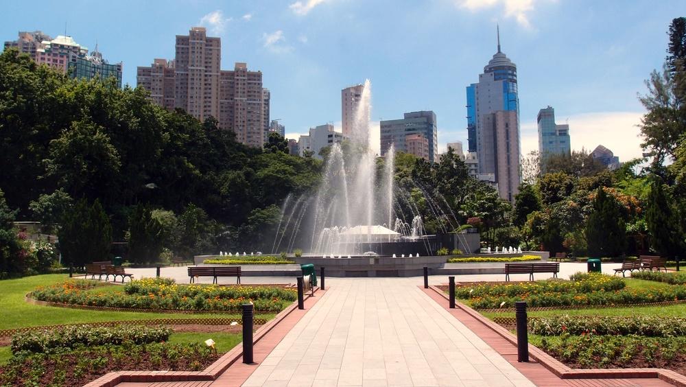 The fountain in the main garden area