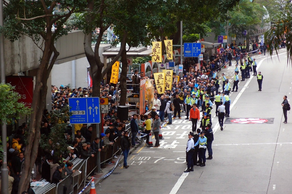 Demonstrations often close Hennessy Road