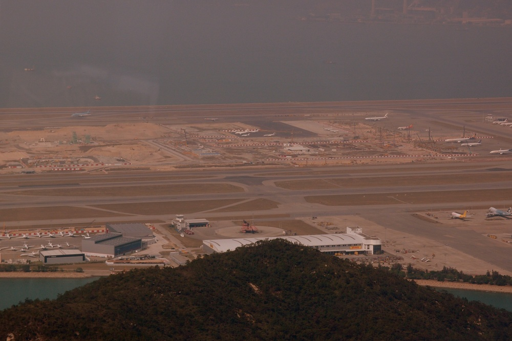 This is a view of the airport from the cable car