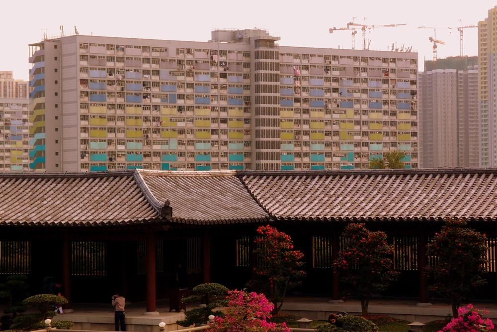 Set against a backdrop of public housing estates