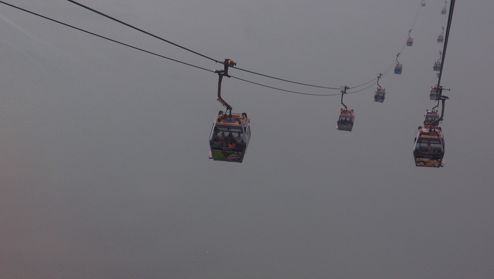 I got lucky, this is fast becoming my favourite image, a shot of nothing as we sat in the NP 360 / Giant Buddha cable car on a very cloudy day