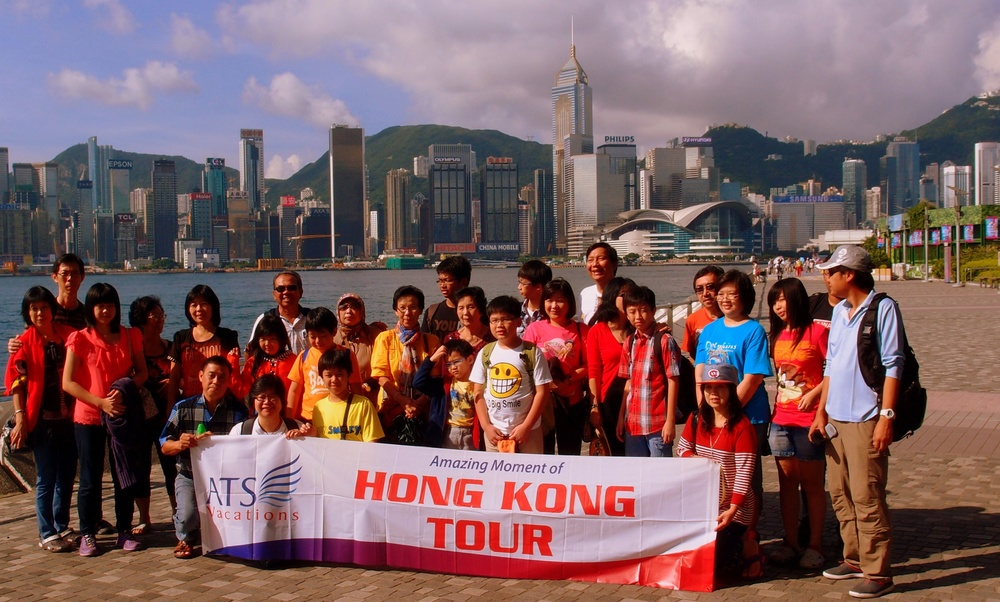 A tour group enjoys Hong Kong