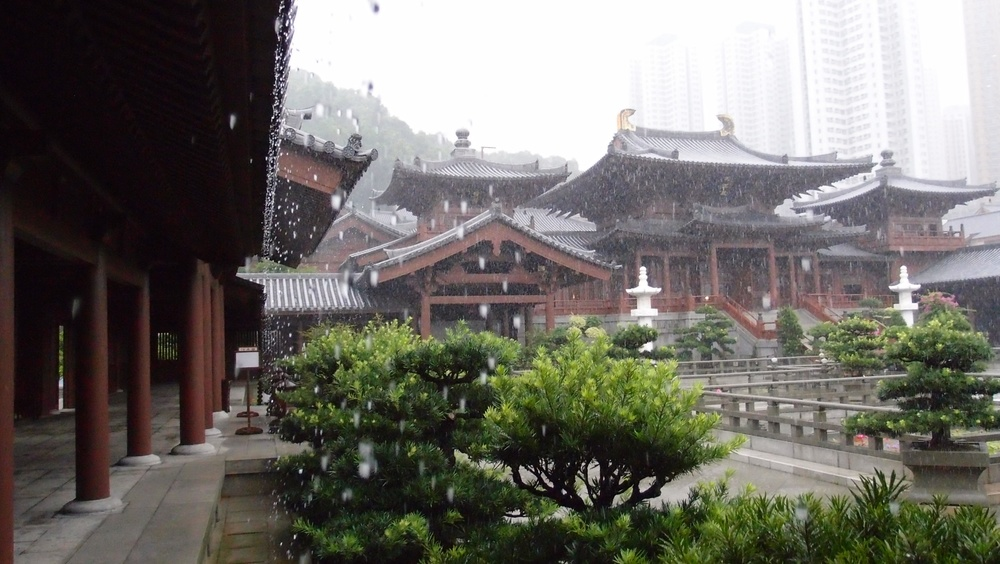 Some places look brilliant in heavy rain - the Chi Lin Nunnery in Diamond Hill