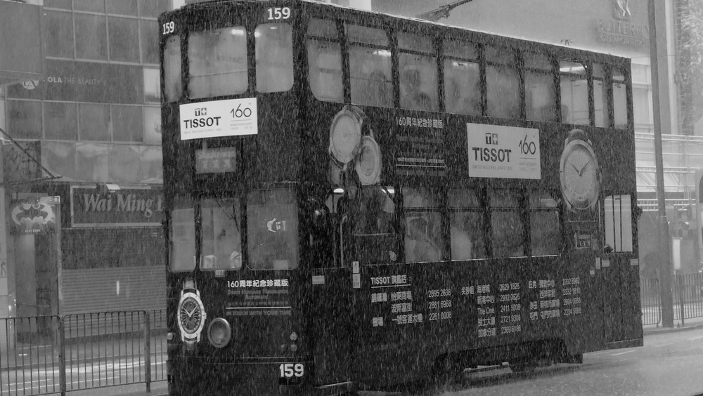 One of our famous trams negotiating large puddles