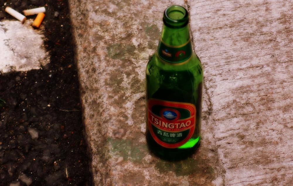 yes, a random beer bottle left on the street.