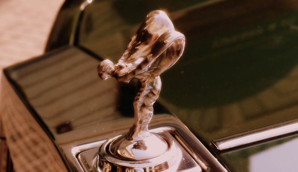 "The famous winged lady or ""Spirit of Ecstasy"" which graces the bonnet of the Rolls Royce"