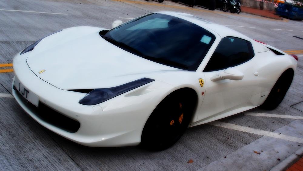 A stunning white Ferrari