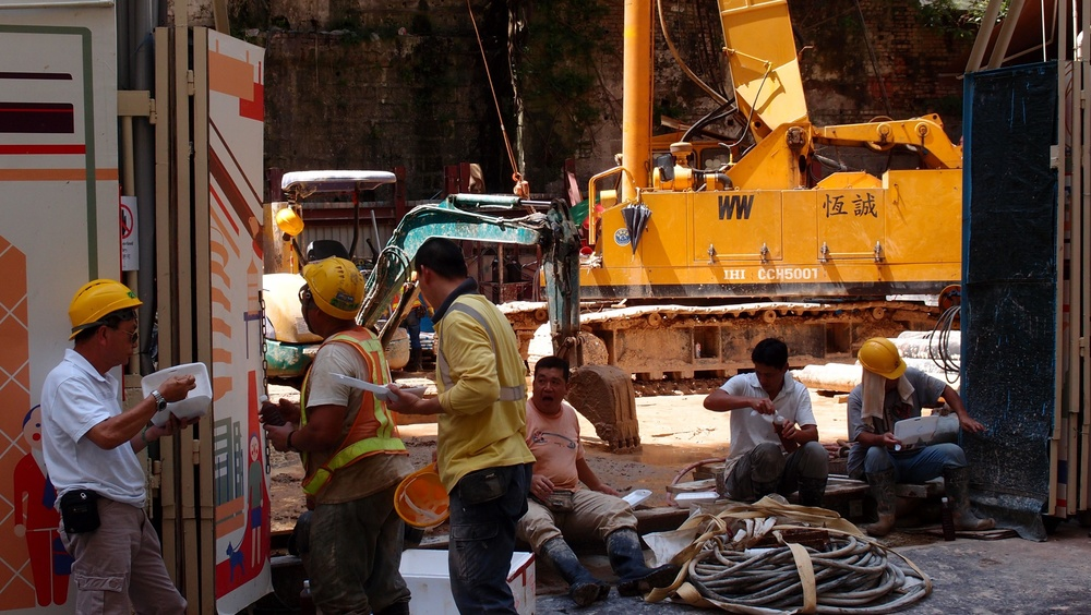 Construction workers having lunch