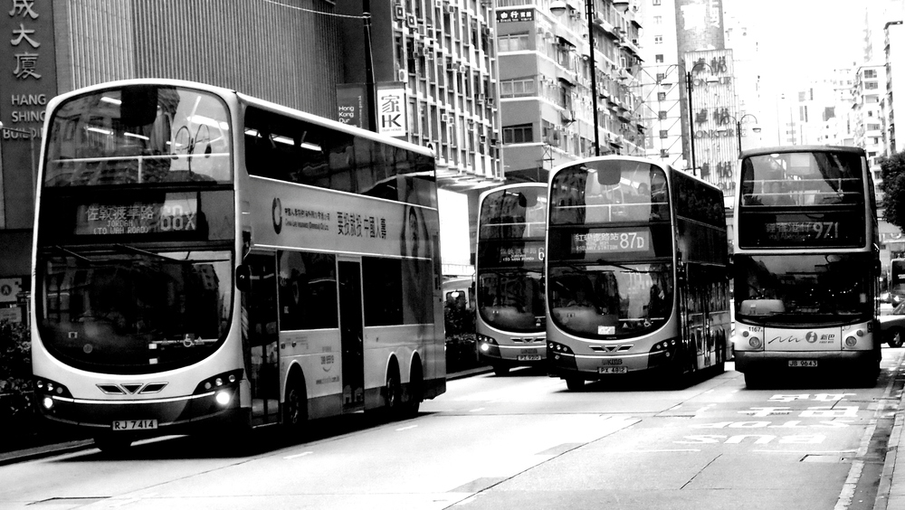 Buses racing down Nathan Road in Jordan district