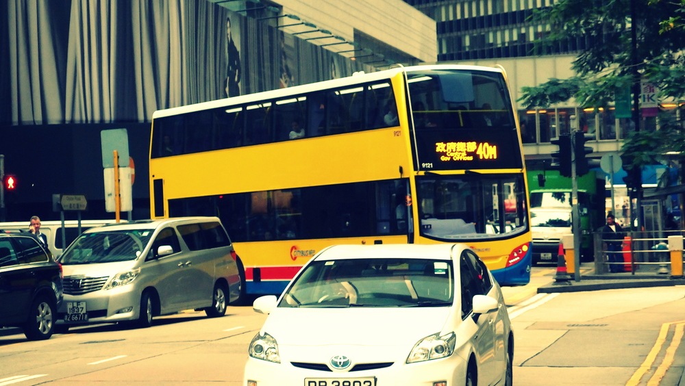 One of our 5,000 double decker buses negotiating our narrow streets.