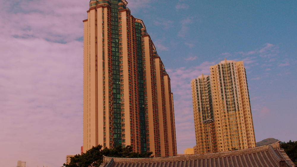Private apartment buildings at Diamond Hill as taken from the Chi Lin Nunnery