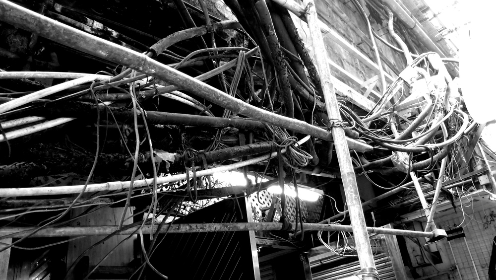 The fire hazard wiring at the Chungking Mansions in TST, Kowloon