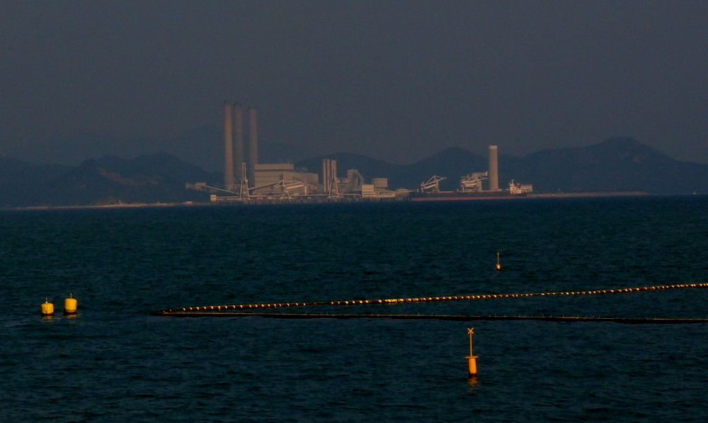 The Lamma Island Electricity power plant as taken from Cheung Chau Island.