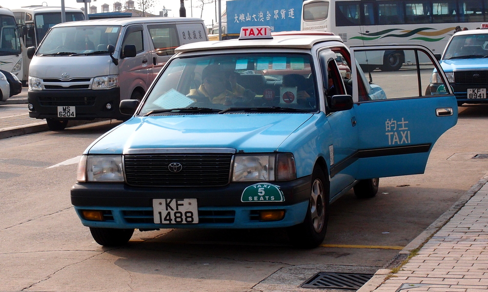 The light blue taxi - seen only on Lantau Island
