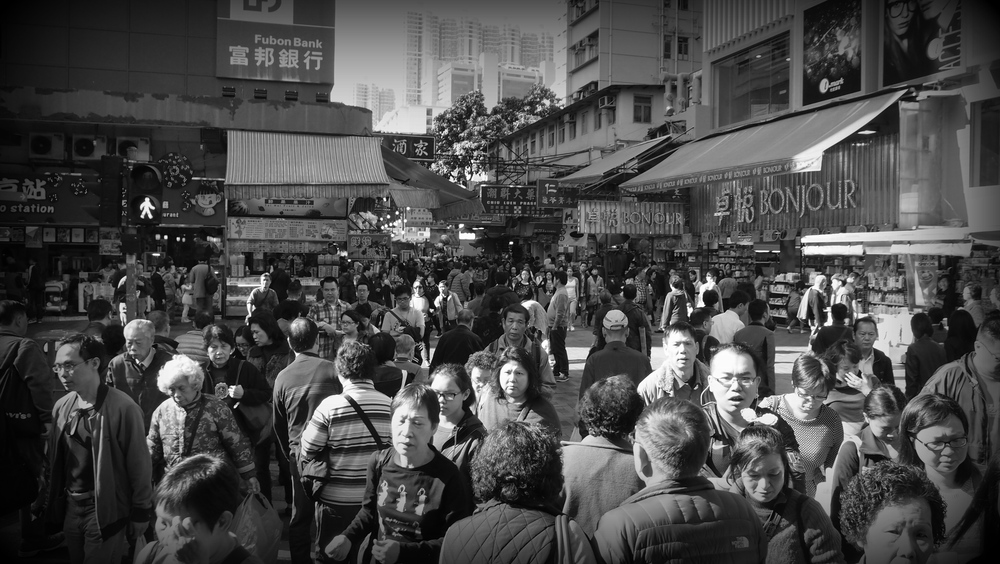 The crowded streets of Tsuen Wan in the NT. - 3.15pm on a Wednesday afternoon.