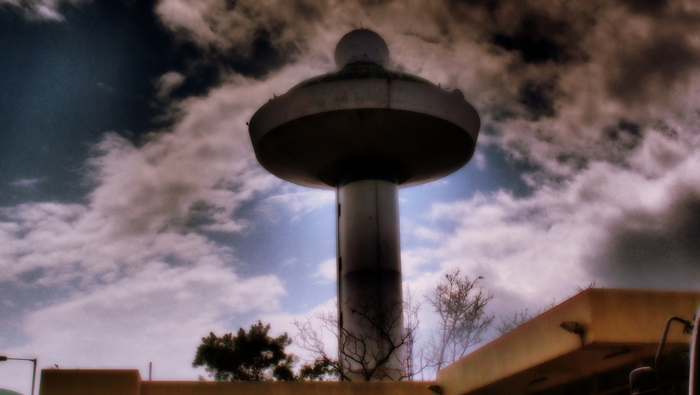 The old radar at the site of the old Kai Tak Airport, it looks like something from a Men in Black movie.